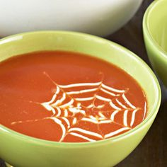 Tomato soup with a spiderweb -- so easy to make with cheese or sour cream.