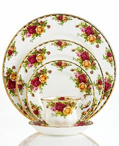 Royal Albert Old Country Roses. Rated America's best loved china pattern, this classic from Royal Doulton is a beautiful table appointment. Available at Waterford Wedgwood Royal Doulton, San Marcos, TX Royal Albert, Dinnerware Sets, China Dinnerware, Cream Dinnerware, Vintage Dinnerware, Royal Doulton, Vintage China, Vintage Plates, Royal Copenhagen