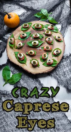 5 ingredient Crazy Caprese Eyes is a fun and delicious appetizer to serve your Halloween party guests. The combination of basil, fresh tomatoes, mozzarella cheese, and olives are to die for. Halloween Party Appetizers, Halloween Dinner, Halloween Food For Party, Party Snacks, Halloween Treats, Hallowen Food, Creepy Halloween Food, Spooky Food, Halloween Eyeballs