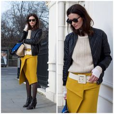 Mustard skirt, I love bold colors with neutrals – Hedvig Opshaug