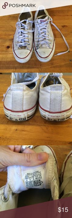White Low Top Converse Size 11 Women 9 Men Super grungy classic chucks :) has lots of life left in them but definitely very well loved! Easy to clean and make look new if wanted. Converse Shoes Sneakers