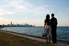 President Barack Obama and First Lady Michelle Obama look out at the Chicago, Ill., skyline, June 15, 2012