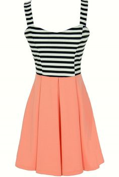 Stripes and Solids Colorblock Dress in Peach  www.lilyboutique.com