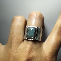 Tall aquamarine fabricated sterling silver ring by Sara Westermark. Size 8.5.
