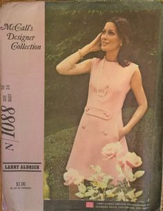 """VTG 1088 McCalls (1969) Designer Collection by Larry Aldrich.  Dress in 2 versions. Size 16, Bust 38"""". Complete, unsued, neatly cut. EX cond by ThePatternParlor on Etsy"""