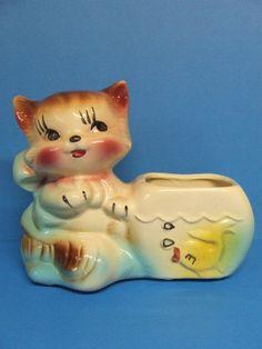 Vintage Kitty Cat w/Fish Bowl Pottery Planter (USA)