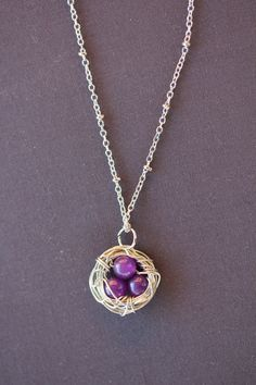 Amethyst  Wire Wrapped Birds Nest Necklace by FiligreeWaves, $19.00
