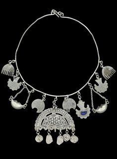 Amulet necklace for a young girl.  Kurdish, from Suleymaniye (northern Iraq)…