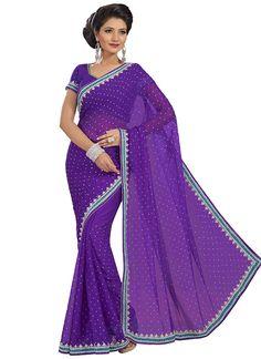 Violet Embellished Saree