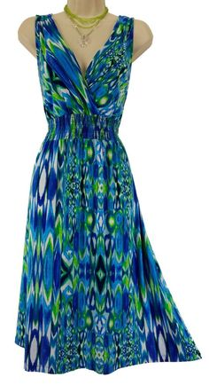 XL X-LARGE (16-18) SEXY Womens ABSTRACT SUMMER DRESS Spring Blue Print PLUS SIZE #FadedGlory #Summer