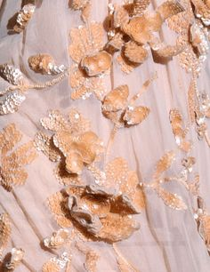Detail of an Alberta Ferretti Dress, Spring 2011 collection. flowers made of overlapping sequins. Tambour Embroidery, Couture Embroidery, Gold Embroidery, Embroidery Designs, Textiles, Lesage, Fabric Manipulation, Embroidered Silk, Alberta Ferretti