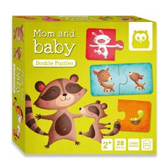 Puzzle mom and baby Mom And Baby, Lunch Box, Rhinos, Polar Bears, Piglets, Cows, Turtles, Toys, Bento Box