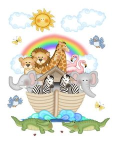 """Noah's Ark Wall Mural Decals for baby boy girl nursery or kids room decor - measures 20.5"""" Tall and 16.5"""" Wide #decampstudios"""