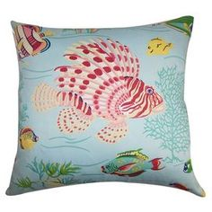 "Bring a touch of style to your sofa or chaise with this plush pillow, the perfect companion to a glass of chardonnay and your latest book club read.   Product: PillowConstruction Material: Cotton cover and down 95/5 fillColor: AquamarineFeatures:  Insert includedHidden zipper closureMade in the USA Dimensions: 18"" x 18""Cleaning and Care: Spot clean"