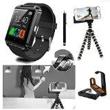 U8 Bluetooth Smart Watch Wristwatch Phone Mate + Mini Flexible Tripod Holder + Adjustable Bracket + Touch Pen for Android Smartphone Samsung Galaxy s2/s3/s4/s5 Note 2/Note 3 HTC ONE M7 Sony Blackberry LG G2 - Only Basic function for iOS iPhone 6/5S/5C/5/4S/4 (Black) http://smartphones-store.com  EZ