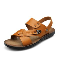 Size 38 to 44 New Fashion sandale homme Summer mens shoes Casual sandalias playa Slippers Men Slides Sapatos Color Camel Brown