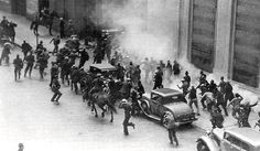 """July 5, 1934, 5,000 workers fight 1,000 police, scabs, and National Guard troops as employers tried breaking the longshore strike in San Francisco. Two strikers were killed, 109 people injured. The incident, known as """"Bloody Thursday,"""" led to a general strike. The longshore walkout was arbitrated and the workers won their major demands."""