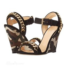 Shoespie Metal Camouflage Wedge  Sandals