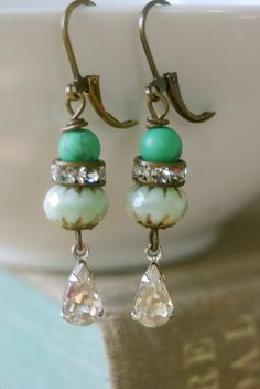 Simply green.rhinestone drop earrings. by tiedupmemories on Etsy, $24.00