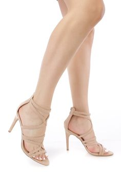 Nude Textured Strappy Detail Open Toe High Heels Suede