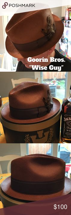 """NWOT Goorin Bros. Wise Guy Fedora This American made Fedora is named """"wise guy'. Blocked in America from a handwoven 3 BU paper straw, this stingy brim fedora features a snap brim and a single needle stitch on the band. You'd be wise to say yes this one. Goorin Bros Accessories Hats"""