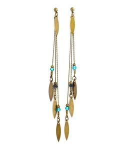 Pendentifs d'oreilles, Boucles bronzes, perles bleu/vert et noires est une création orginale de comptoir-des-muses sur DaWanda 25 €