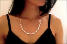 "3A round pearl necklace with gold chain and a silver Chinese Character"" Luck"""
