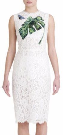 Banana-Leaf Embroidered Butterfly-Applique Lace Sleeveless Dress-White