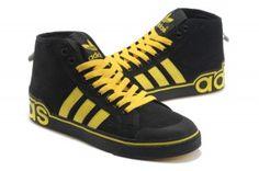 a buon prezzo milano Adidas Originals High Top Canvas Uomo Scarpe da running nero e giallo