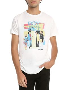 White T-shirt from Boy Meets World with logo & cast photo design.
