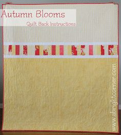 Free Pattern for Quilt backing on Autumn Blooms.  Maybe do something similar for the back of my fall leaves quilt.