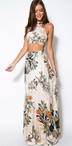 Shine Bright Floral Crop Top & Long Skirt Two Pieces Set