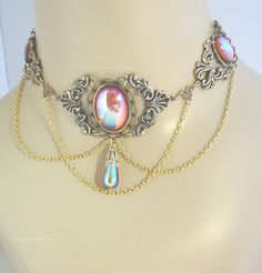 Elven Fairy wedding costume choker necklace for gown or dress - Rose - AB Topaz / goldplate - RARE. $40.00 USD, via Etsy.