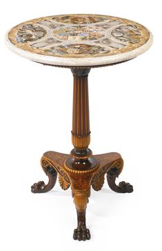A North Italian Neoclassical carved walnut and fruitwood guéridon with scagliola top probably Milan, second quarter 19th century with the coat-of-arms of the Poldi-Pezzoli family