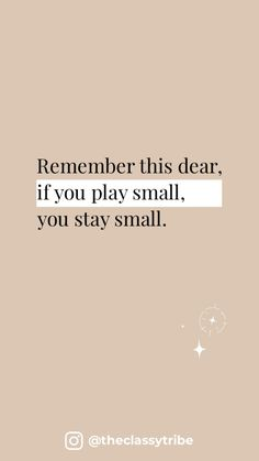Stop playing small, Dream big! 🤍
