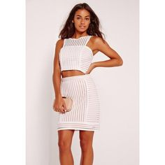 Missguided Stripe Airtex Mini Skirt (785 INR) ❤ liked on Polyvore featuring skirts, mini skirts, white, short skirts, missguided skirt, fancy skirts, white skirt and white striped skirt