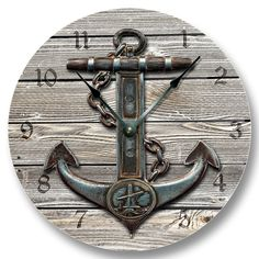 Anchor on Weathered Boards wall CLOCK beachy and by FancyThisBaby