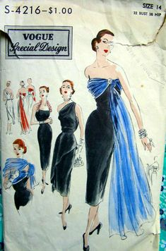 Vogue Special Design S-4216 ©1951 sheath dress, tunic overbodice, & draped stole