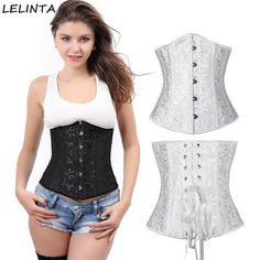 66d7afe1da6 Black White Underbust Corset Sexy Women Body Shaper Lace Up Corselet Print Corsets  Bustiers Gothic Wedding