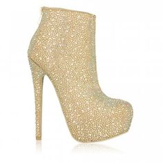 Kandee Shoes Limonade Crystal Embellished Suede Ankle Boots - As seen on Amy Childs