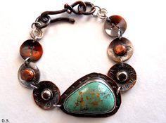Handmade Southwestern Metalwork American Green Turquoise Copper & Sterling Silver Bracelet
