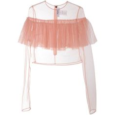 Msgm Ruffled Tulle Sheer Top ($295) ❤ liked on Polyvore featuring tops, nude, white top, white sheer top, embellished tops, flounce top and ruffle long sleeve top