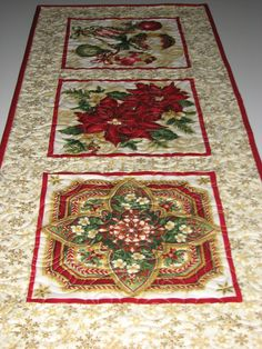 Christmas Table Runner, Holiday Quilted Table Mat, Ornate Red and Gold Table Runner, Quiltsy Handmade by VillageQuilts on Etsy