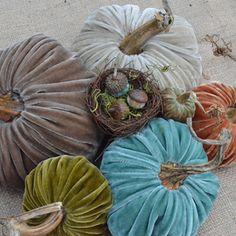 Not a big fake pumpkin fan, but love these velvet pumpkins from LoveFeast!