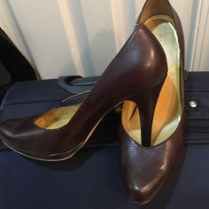 "Tahari Brown Pumps Gently worn Tahari pumps.  Heels are 3"" with a little platform in the front. Tahari Shoes Heels"