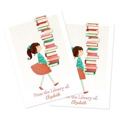 Personalized Bookplates Library Girl Set by TheFoxandTheTeacup
