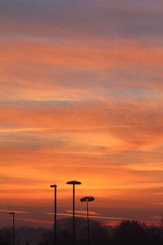 Sunrise in bright colours, somerset, United Kingdom