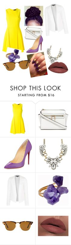 """Untitled #22"" by jalaea ❤ liked on Polyvore featuring Versace, Christian Louboutin, Topshop, Helix & Felix, Ray-Ban and LORAC"