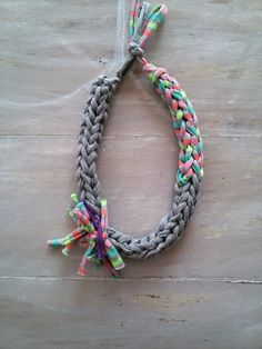 Image of HERA-Crochet necklace- fabric jewelry- textile necklace- chunky crocheted necklace
