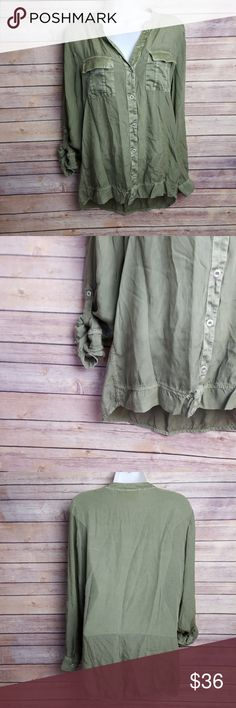 """Chicos Army Military Green 3/4 Roll Tab Sleeve Top Chicos Army Military Green 3/4 Roll Tab Sleeve Silky Button Down Sequins Sz 0 XS  No rips, stains, smoke free home. Pit to pit: 19.5"""" Shoulder to hem: 25"""" Chico's Tops Button Down Shirts"""